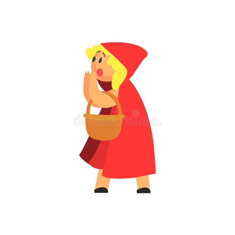 Mädchen im Kostüm des roten Hood Character Performing In Theatrical-Zeigunges in der Märchen-Geschichte lizenzfreie abbildung