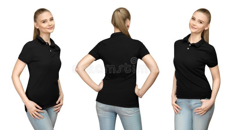 Mädchen im leeren schwarzen Polohemd-Modelldesign für Druck und Schablonenfrau im T-Shirt konfrontieren Seiten-Rückseitenansicht  stockfotografie