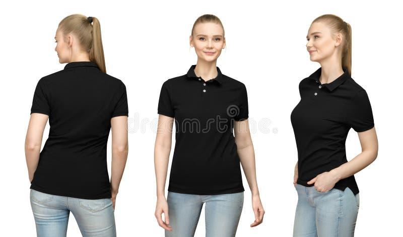 Mädchen im leeren schwarzen Polohemd-Modelldesign für Druck und Schablonenfrau im T-Shirt konfrontieren Seiten-Rückseitenansicht  stockbilder
