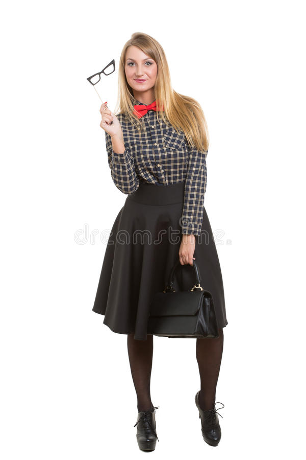 Mädchen im Rock mit Tasche Die Fliege ein getrennt worden stockbilder