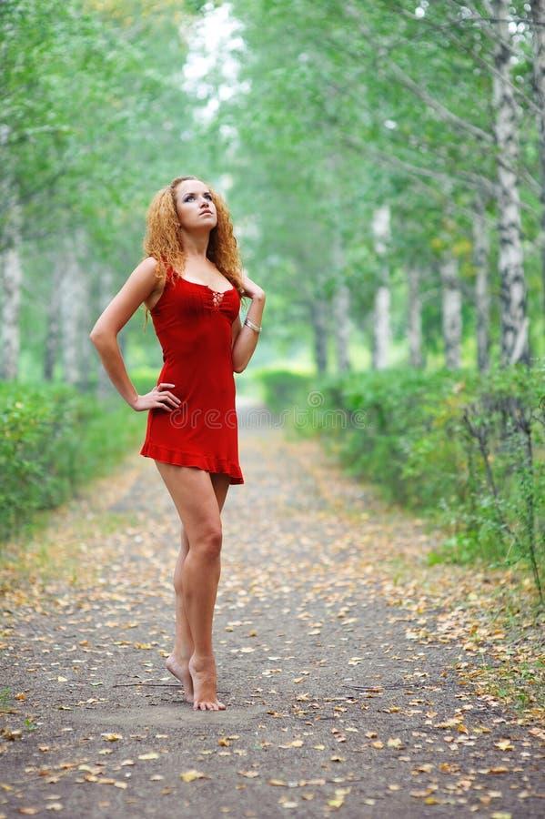 Mädchen im roten Kleid lizenzfreie stockfotos