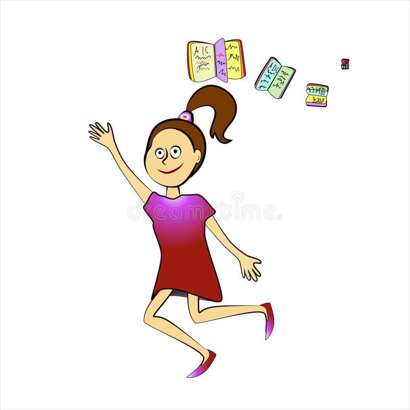 Mädchen im roten Kleid wirft die Lehrbücher oben und die Läufe Auf Wiedersehen meine Schule stock abbildung