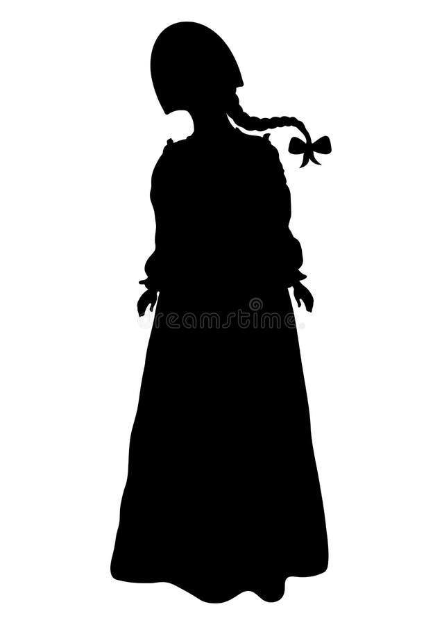 Mädchen im russischen nationalen Kostümschattenbild, Vektorentwurfsporträt, Schwarzweiss-Konturnzeichnung Frau in voller Länge in vektor abbildung