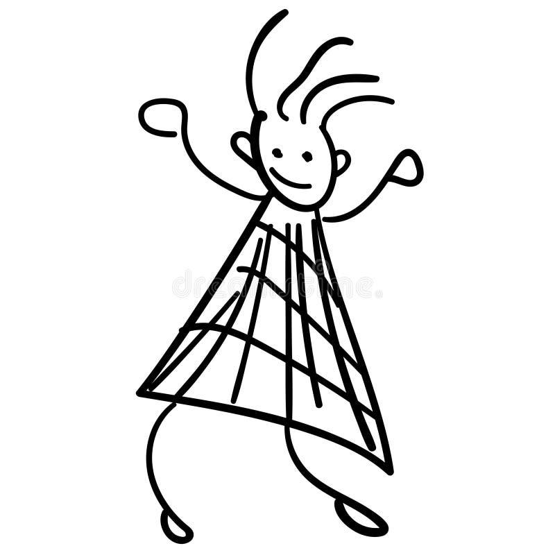 Mädchen im Stil der Zeichnungen der Kinder stock abbildung