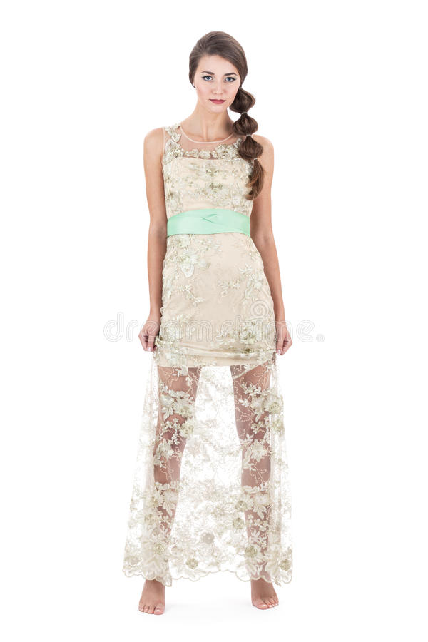 Mädchen im transparenten Kleid lizenzfreie stockbilder