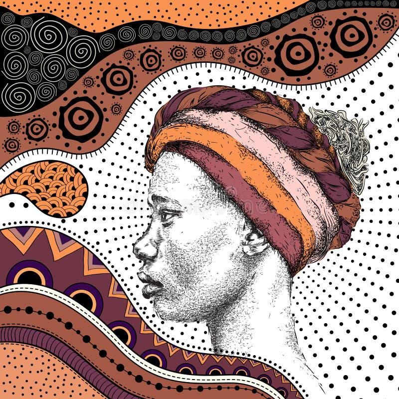 Mädchen im Turban mit afrikanischem Muster ethno des Handabgehobenen betrages, Stammes- Hintergrund Schöne schwarze Frau Überrasc stock abbildung