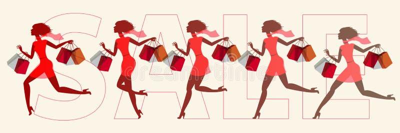 Mädchen im Verkauf laufen gelassen vektor abbildung
