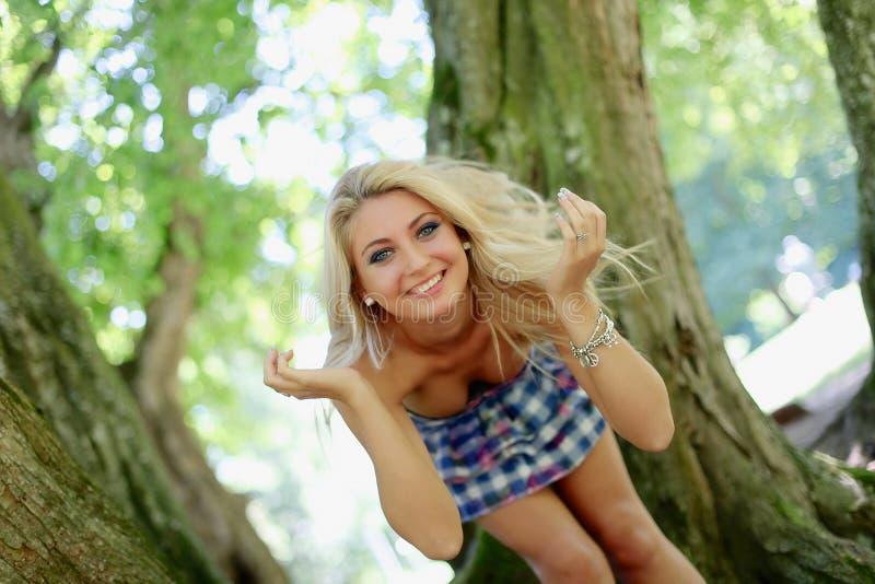 Mädchen im Wald stockbilder