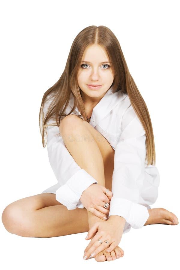 Mädchen im weißen Hemd stockfotografie