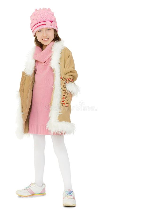 Mädchen im Winterpelzmantel stockfotos