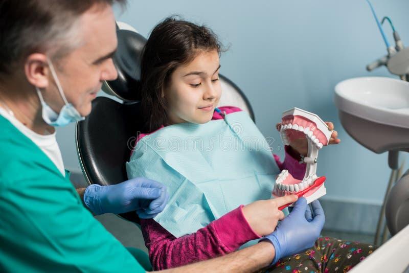 Mädchen im Zahnarztstuhl, der mit ihrem pädiatrischen Zahnarzt, richtiges Zähneputzen zeigend sitzt stockfoto