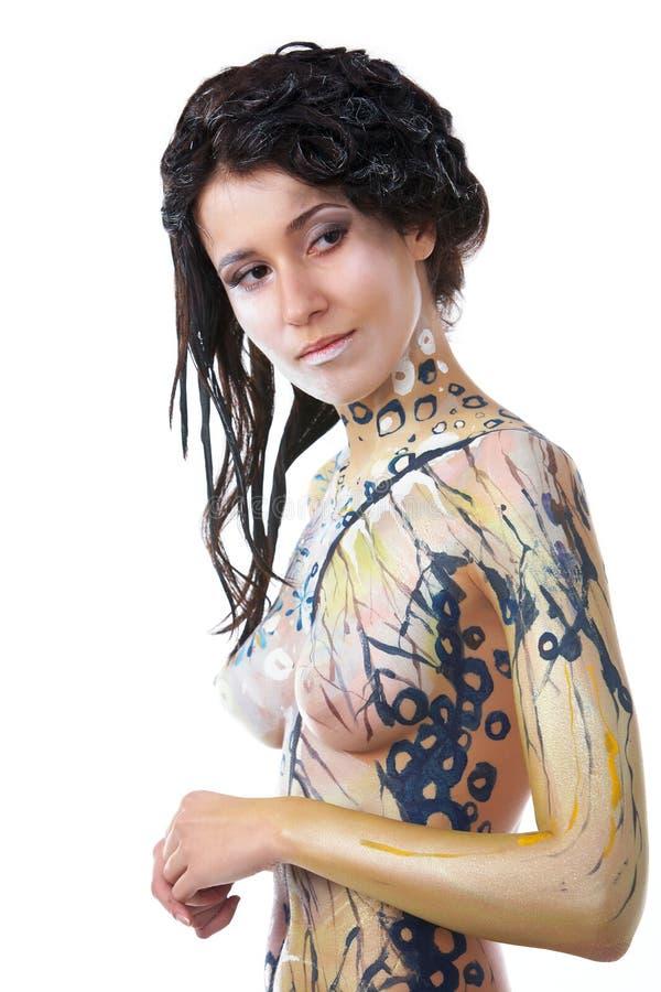 Mädchen, Karosseriekunst stockbilder