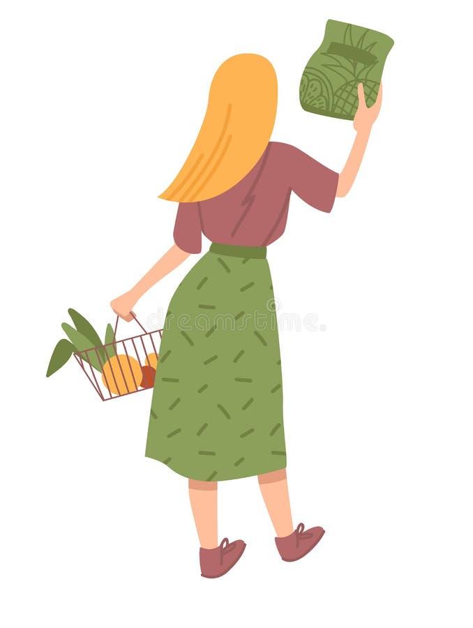 Mädchen kauft auf weißem Hintergrund Flache Karikaturvektorillustration vektor abbildung