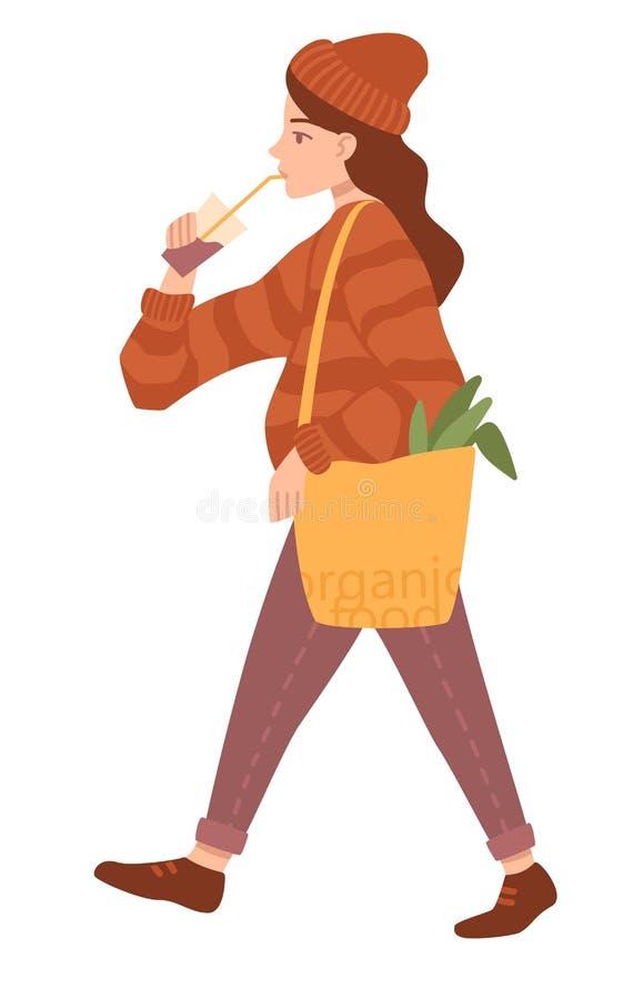 Mädchen kauft auf weißem Hintergrund Flache Karikaturvektorillustration lizenzfreie abbildung