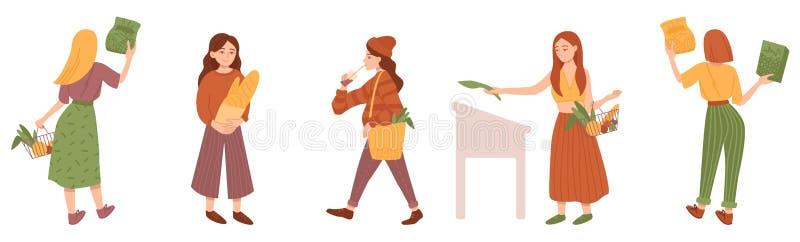 Mädchen kauft auf weißem Hintergrund Flache Karikaturvektorillustration stock abbildung