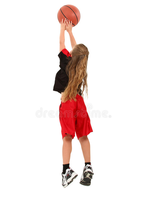 Mädchen-Kind-Basketball-Spieler stockfotos