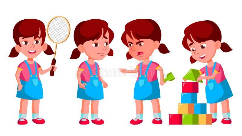Mädchen-Kindergarten-Kinderhaltungen eingestellter Vektor Vorschüler-Spielen Freundschaft Für Netz Plakat, Broschüren-Design Getr lizenzfreie abbildung