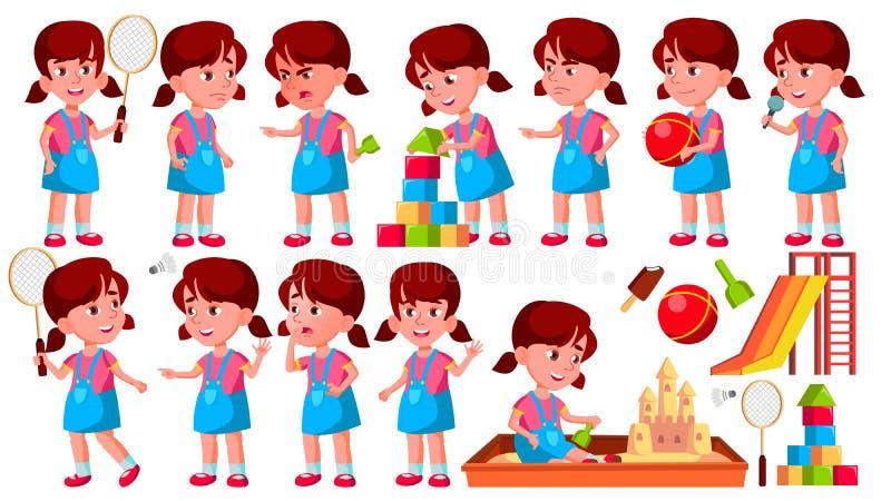 Mädchen-Kindergarten-Kinderhaltungen eingestellter Vektor vortraining Jugendlicher freundlich Für Netz Broschüre, Plakat-Design G stock abbildung