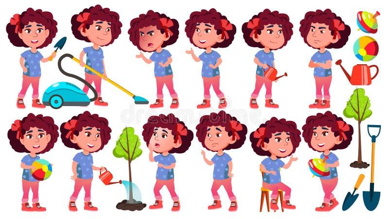 Mädchen-Kindergarten-Kinderhaltungen eingestellter Vektor vortraining Jugendlicher freundlich Für Netz Broschüre, Plakat-Design G vektor abbildung