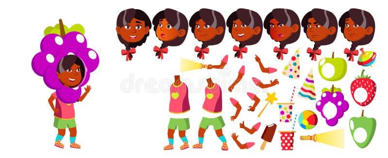 Mädchen-Kindergarten-Kindervektor Animations-Schaffungs-Satz Gesichts-Gefühle, Gesten vortraining Junge positive Person indisch stock abbildung