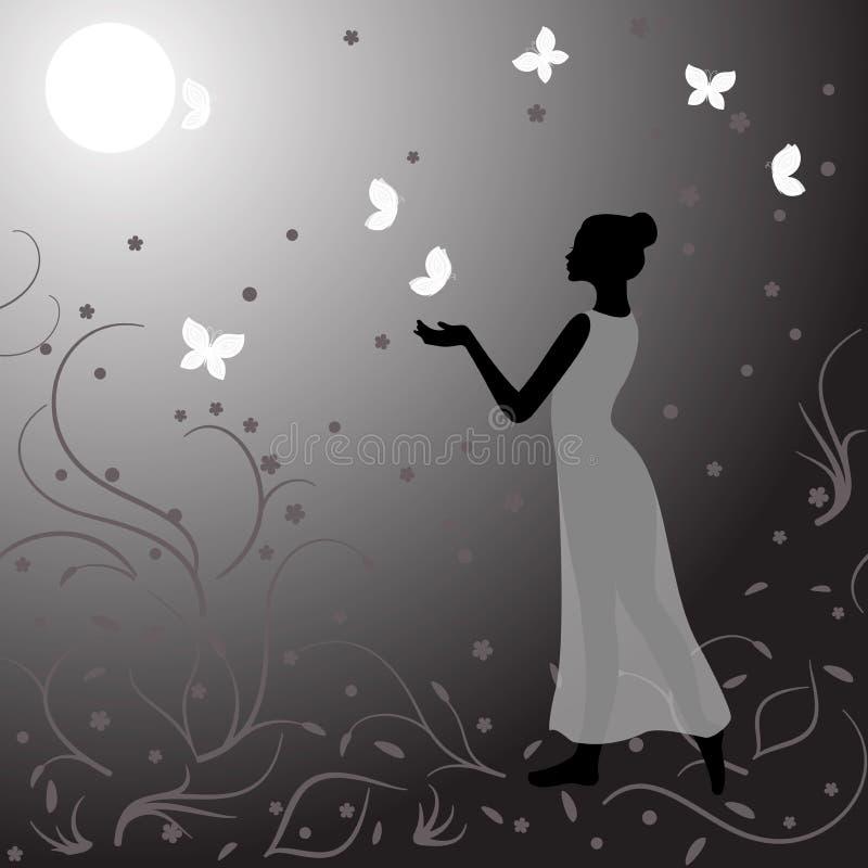 Mädchen kleidete im gauzy Kleid in der Nacht mit Schmetterlingen lizenzfreie abbildung