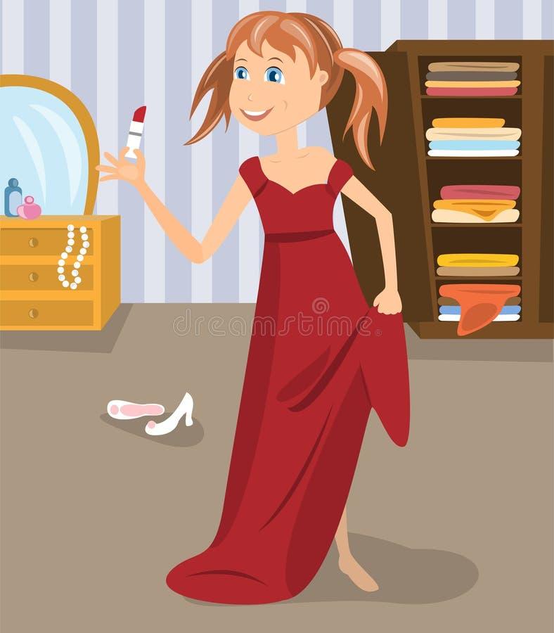 Mädchen kleidete im Kleid des Mutter an lizenzfreie abbildung