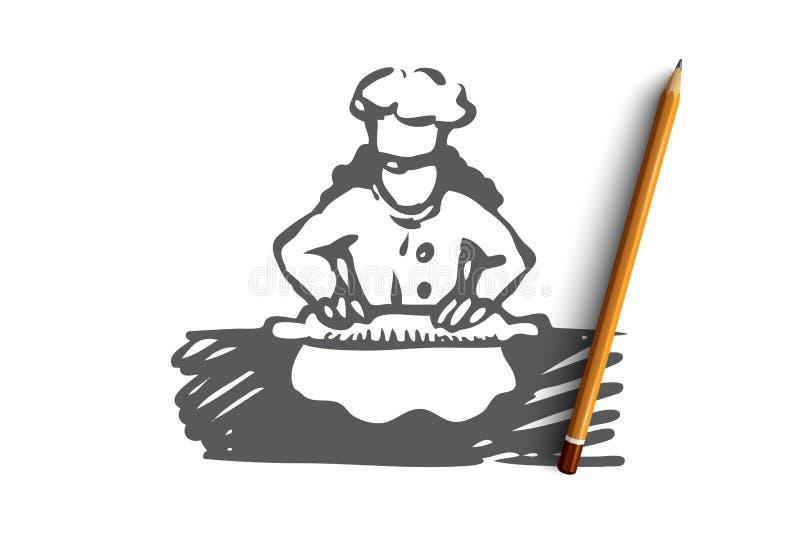 Mädchen, Koch, Rolle, Teig, Nahrungsmittelkonzept Hand gezeichneter lokalisierter Vektor vektor abbildung