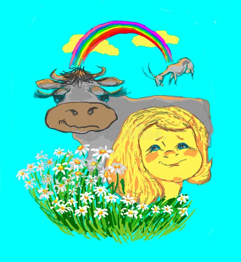 Mädchen, Kuh, Regenbogen stockbild