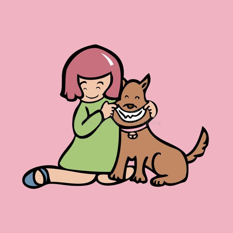 Mädchen lassen Hund lächeln vektor abbildung