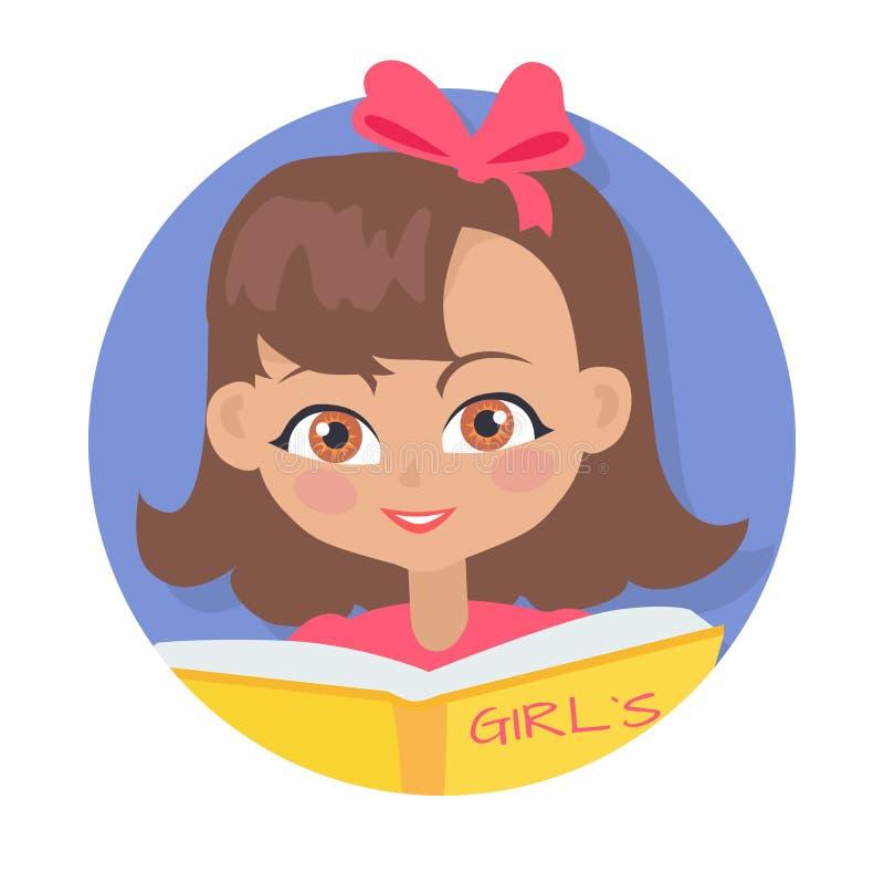 Mädchen-Lesemädchen-Tagebuch-Buch lokalisiert auf Weiß vektor abbildung