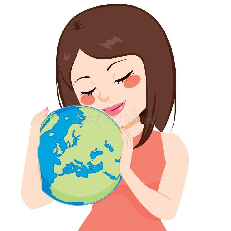 Mädchen liebt Erde lizenzfreie abbildung