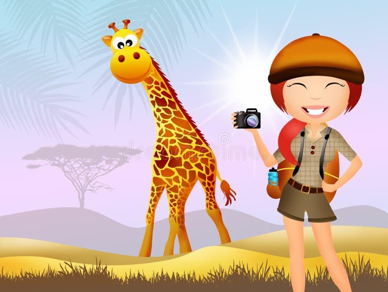 Mädchen macht Safari vektor abbildung