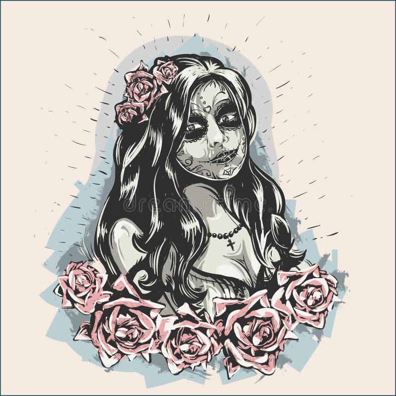 Mädchen in Make-up Dia De Los Muertos Tattooed Lady-Bild lizenzfreie stockfotos