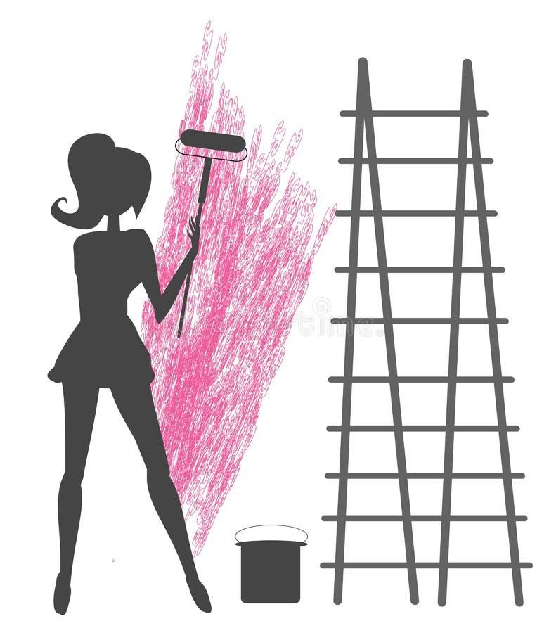 Mädchen malt die Wand lizenzfreie abbildung