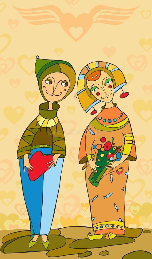 Mädchen-Mann-Liebe lizenzfreie abbildung