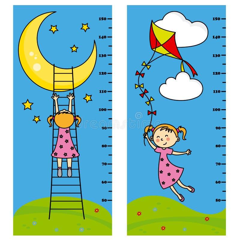 Mädchen-Meterwand mit zwei Stoßdämpfern vektor abbildung