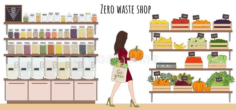 Mädchen mit Ökosack kaufen Gemüse, Obst und Schüttgüter stockfoto