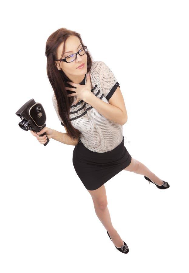 Mädchen mit alter Filmkamera lizenzfreies stockbild