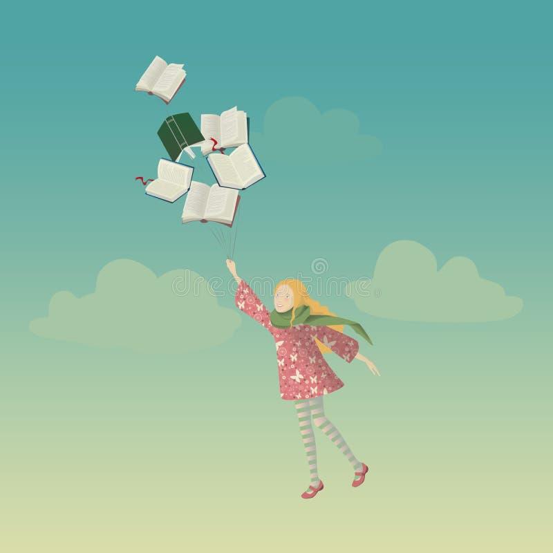 Mädchen mit Büchern vektor abbildung
