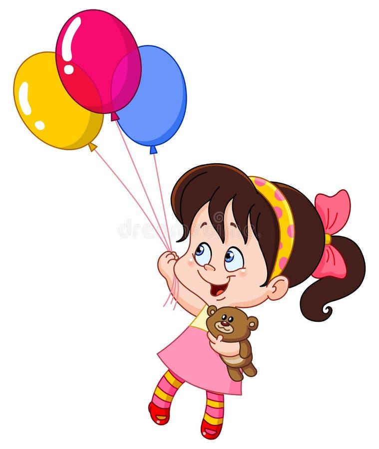Mädchen mit Ballonen vektor abbildung