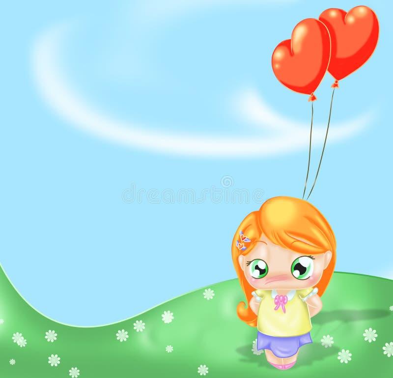 Mädchen mit Ballonen stock abbildung