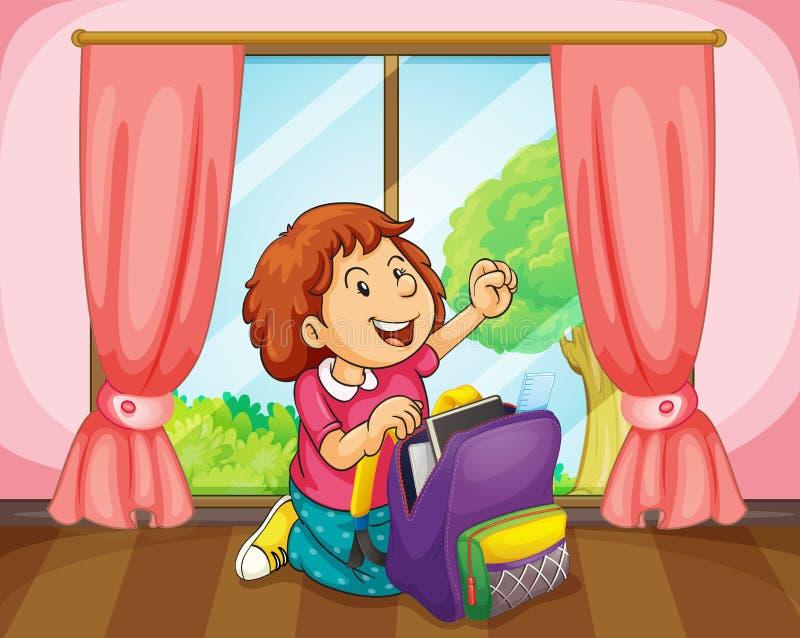 Download Mädchen mit Beutel vektor abbildung. Illustration von learn - 26352229