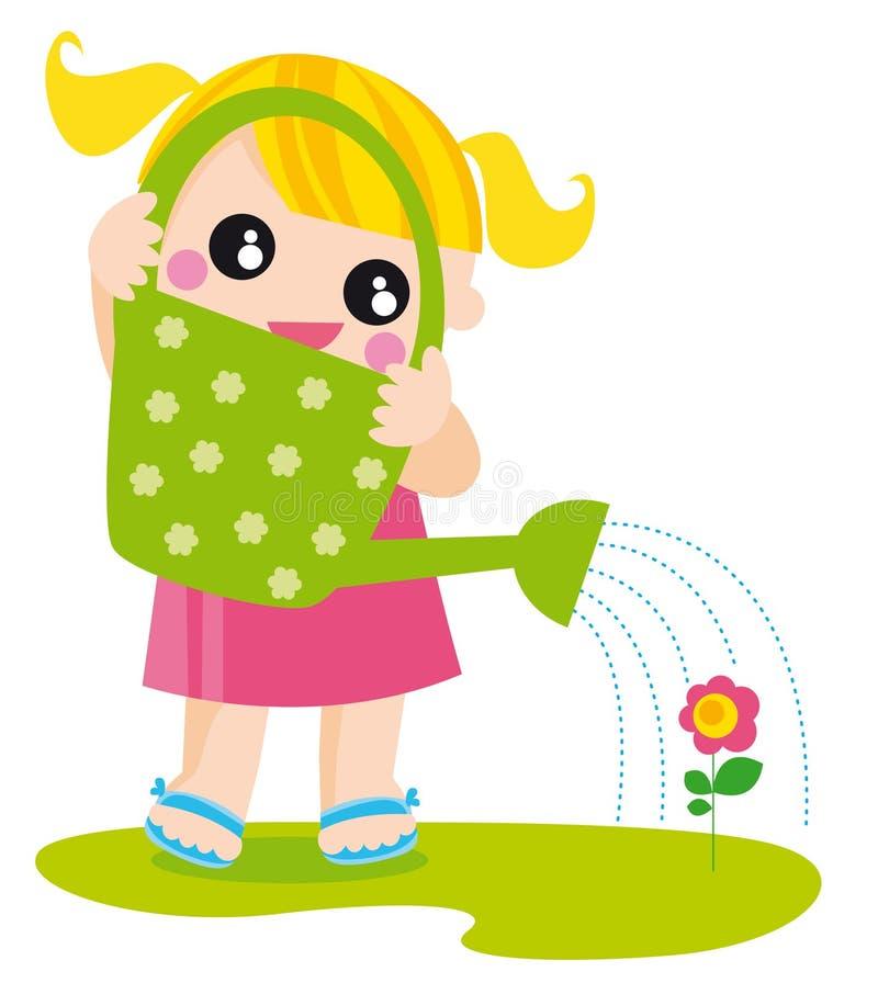 Mädchen mit Bewässerungsdose lizenzfreie abbildung