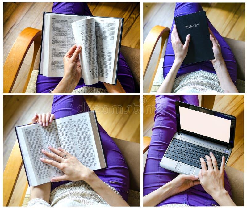 Mädchen mit Bibel und Laptop stockbild