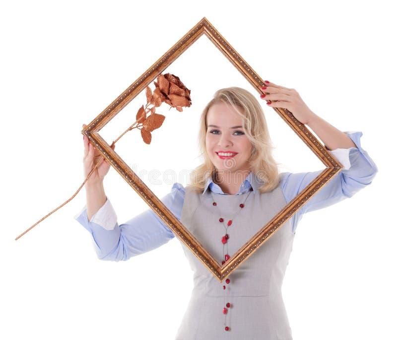 Mädchen mit Bilderrahmen stockbild