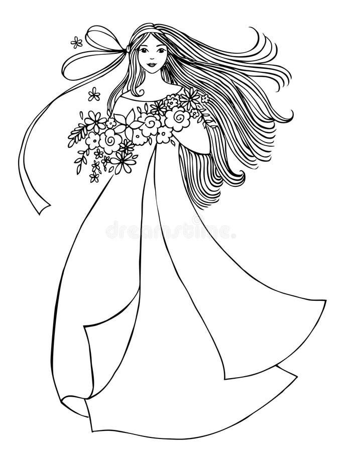 Mädchen mit Blumen stock abbildung