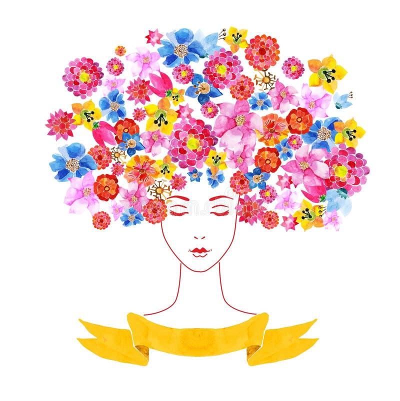 Mädchen mit Blumen und Muster lizenzfreie abbildung