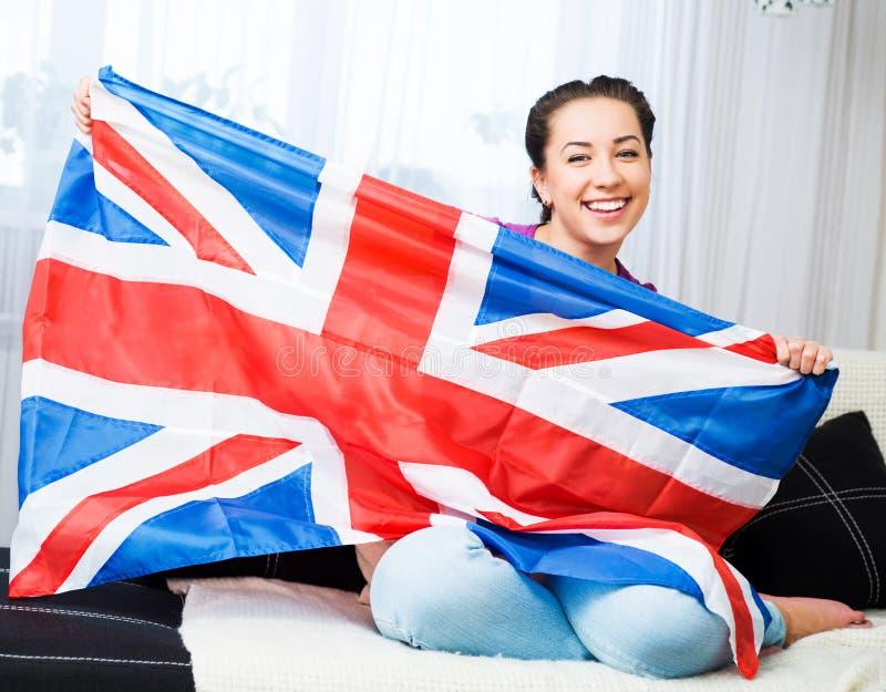 Mädchen mit britischer Flagge lizenzfreies stockbild