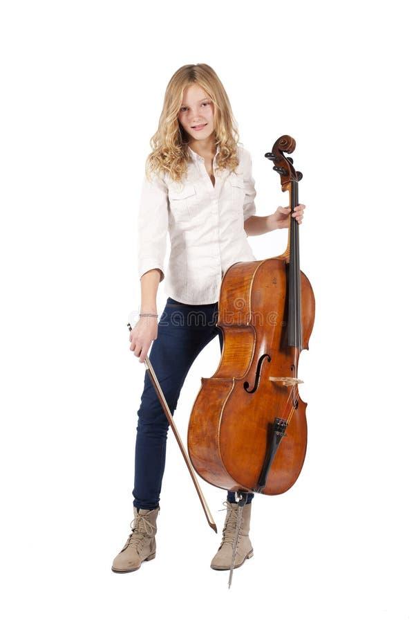 Mädchen mit Cello lizenzfreie stockbilder