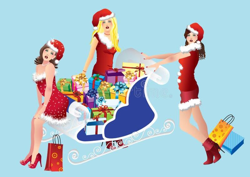 Mädchen mit dem Einkaufen lizenzfreie abbildung